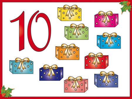 present presentation: 12 days of christmas  10 gifts Stock Photo