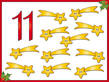 eleven: 12 days of christmas  11 comets Stock Photo