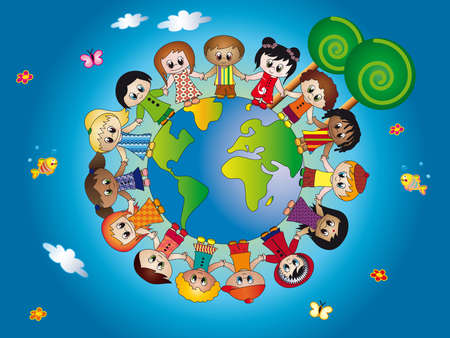 hands holding tree: children world