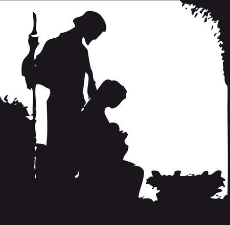 nascita di gesu: nativit� silhouette