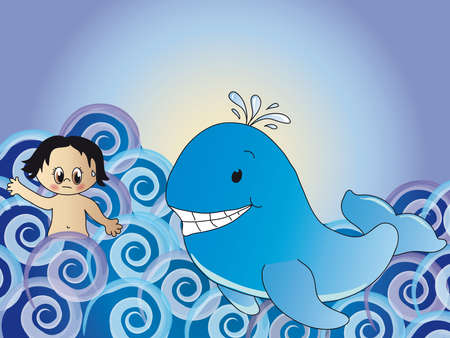 cartoon whale: jonah and whale
