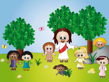 teaching children: jesus with children Stock Photo