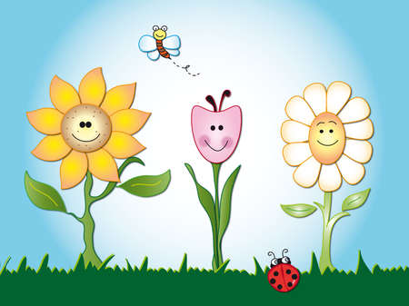 mariposa caricatura: flores Foto de archivo