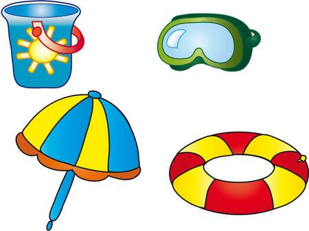 beach toys: sea objects Stock Photo