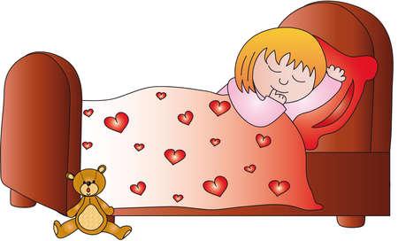 bed sheets: girl sleeping Stock Photo