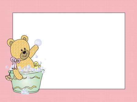 water birth: teddy bear card Stock Photo