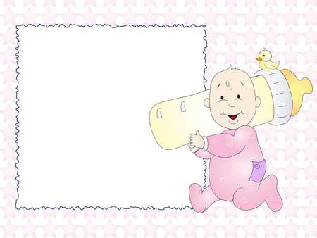 teteros: bebé tarjeta Foto de archivo