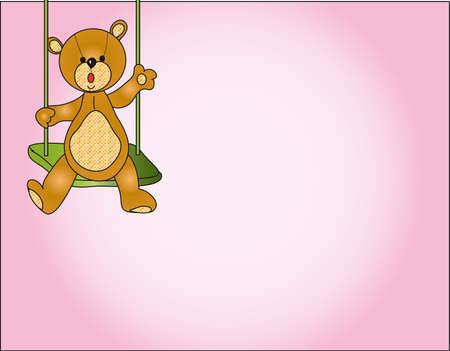 cartooned: teddy bear card Stock Photo