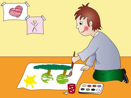 child paint photo