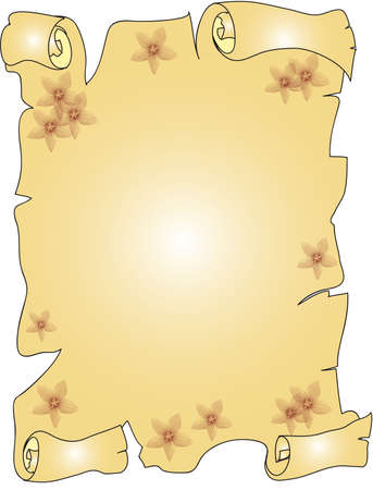 grimy: flowers parchment Stock Photo