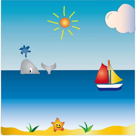 algae cartoon: seascape cartoon