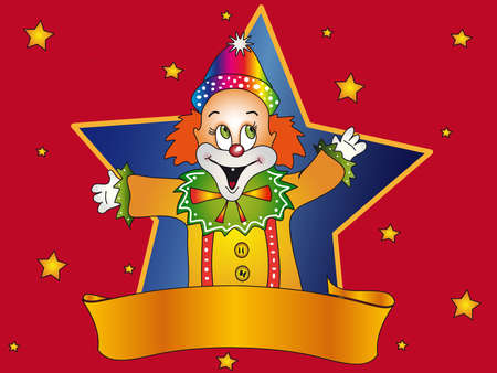 clown with banner photo