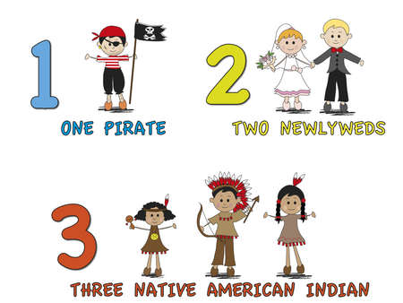 indian happy family: stock 1  number with cartoon children