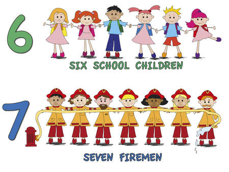 stock 3 number with cartoon children Stock Photo - 17186276