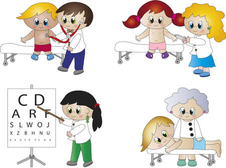 pediatrician: vary illustration of doctors cartoon