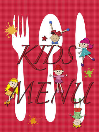 illustration of kids menu with funny children illustration