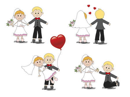 spouses: illustration of cartoon and funny wedding  Stock Photo
