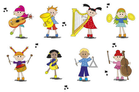 symphony orchestra: illustration of children with different type of instrument