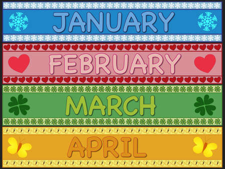 january, february, march and april photo