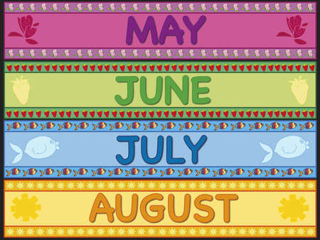 may calendar: may, june, july and august Stock Photo