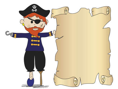 booty pirate: pirate with treasure map Stock Photo