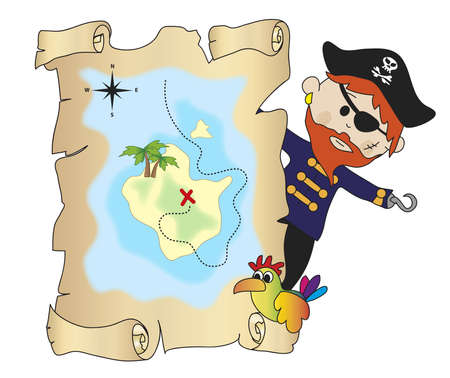 booty pirate: illustration of pirate with treasure map