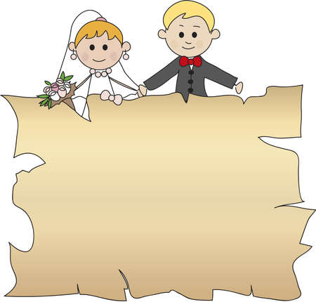 cartoon wedding couple: wedding
