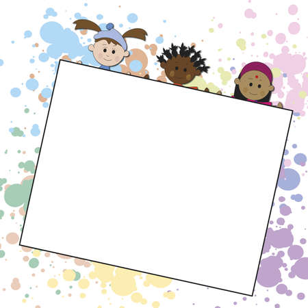 children with a white paper photo