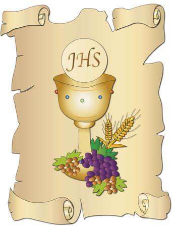 première communion: illustration pour la première communion avec le calice Banque d'images
