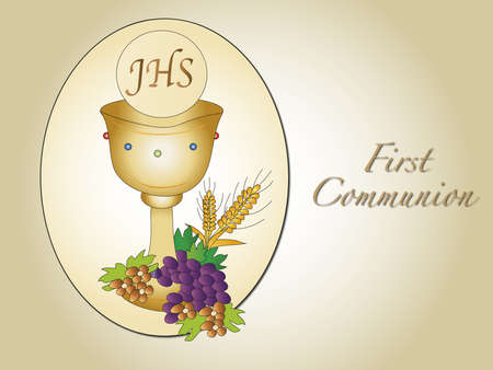 the first communion: illustration for first communion with chalice