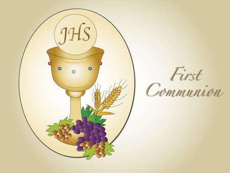 comunion: ilustración para la primera comunión con cáliz Foto de archivo