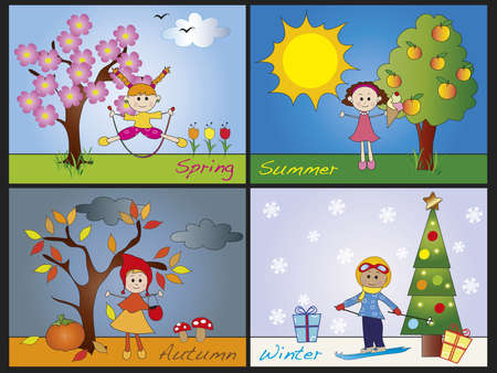 four seasons: illustration of four seasons with children