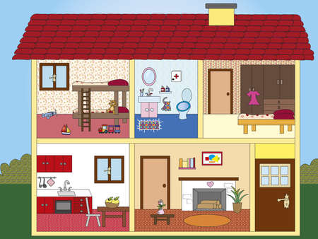 illustration of inter of a house Stock Illustration - 18023016