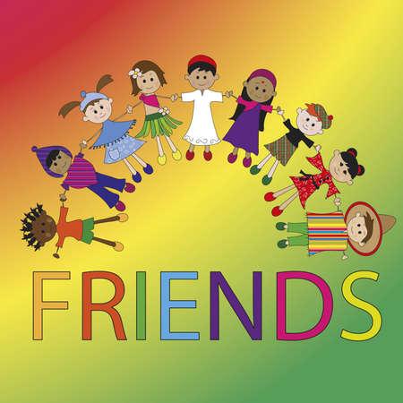 multi racial: friends  Stock Photo