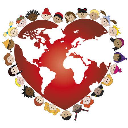 paz mundial: mundo con los niños felices de la cara