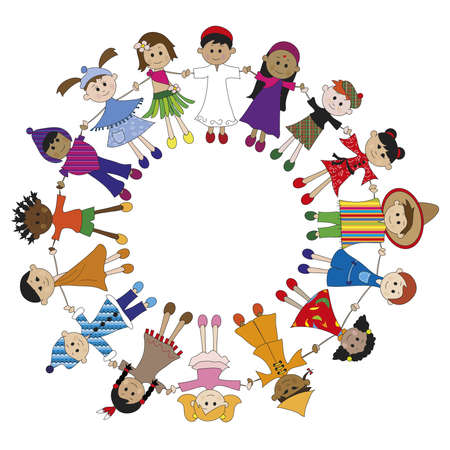 children circle: children of different nationaliy