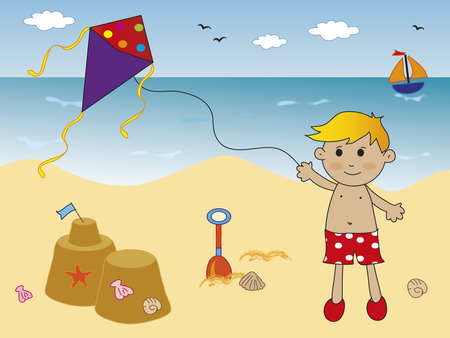 beach game: boy playing on the beach Stock Photo