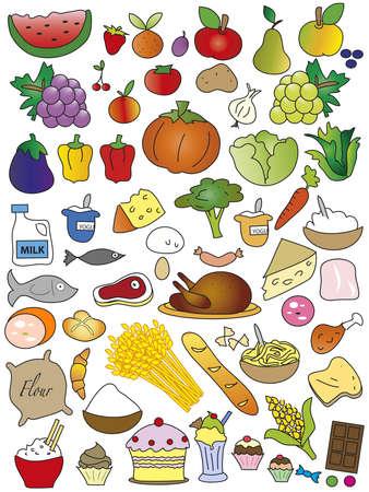 eat cartoon: foods isolated