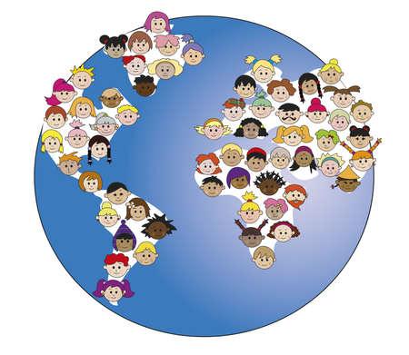 diversidad cultural: mundo con los niños Foto de archivo