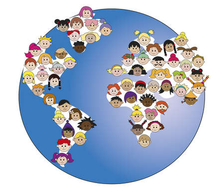 illustrated globe: world with children