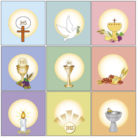 the first communion: religion icons  Stock Photo