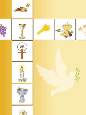 première communion: fond de religion avec la colombe