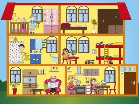 infants: interior house with family