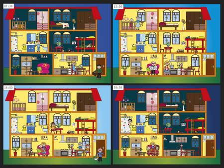toy house:  interior house in four different time