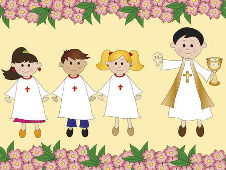 eucharistie: première communion Banque d'images