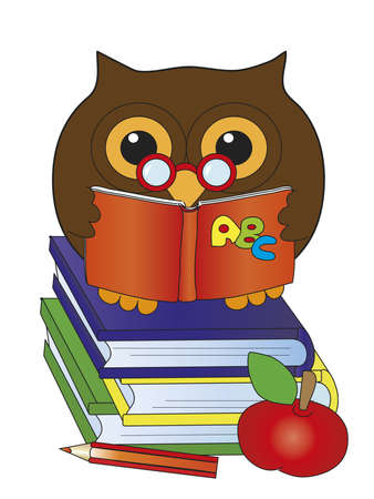 owl with books photo