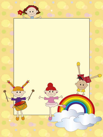 invited: card with happy children