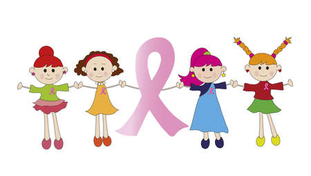 cancer woman: pink ribbon with womens Stock Photo