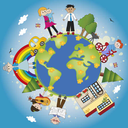 mother earth: happy family around the world Stock Photo