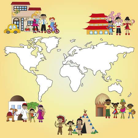 paz mundial: familia en todo el mundo Foto de archivo